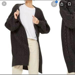 Top Shop Long Front Line Cardigan in dark gray